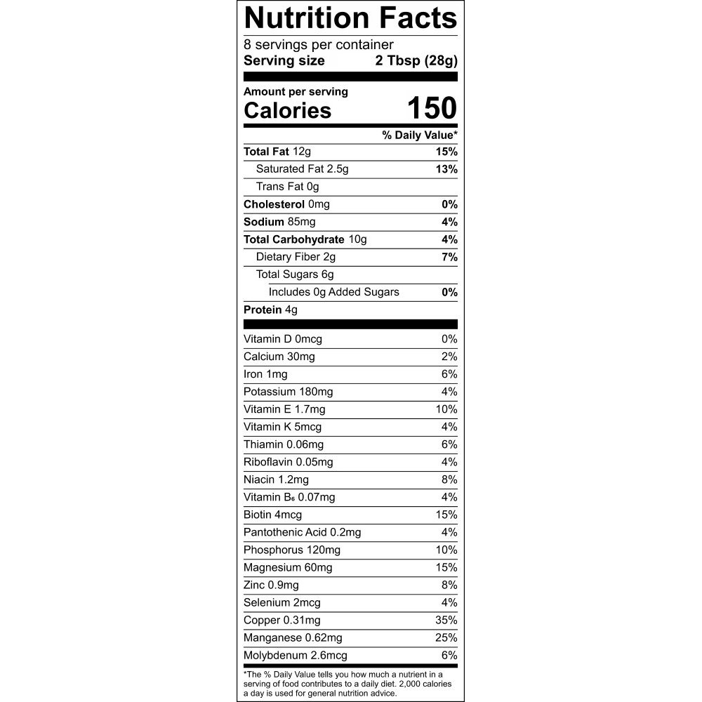Nutritional Information Label - Green Machine GrainFreeNola - Paleo. Vegan. Gluten-Free Hand-crafted Granola