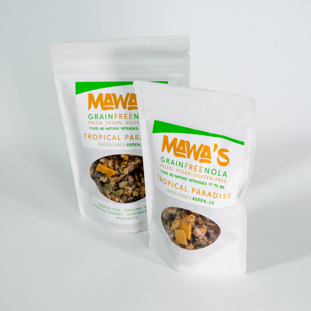Available in 4 oz and 8 oz bags - Tropical Paradise GrainFreeNola - Paleo. Vegan. Gluten-Free Hand-crafted Granola